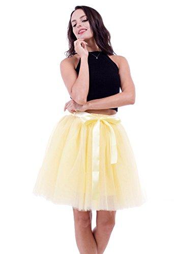 Honeystore Damen's Rock Tutu Tütü Petticoat Tüllrock 7 Schichten mit Gummizug für Karneval, Party und Hochzeit Gelb One Size