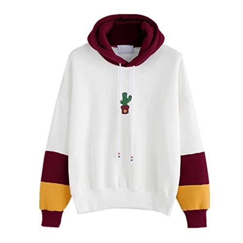 JUTOO Damen Langarm Kaktus Print Hoodie Sweatshirt Kapuzenpullover Tops Bluse(Wein,EU:40/CN:S)
