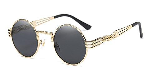 Dollger John Lennon Sonnenbrille Runde Steampunk Gold Metallrahmen Spiegel Objektiv Sonnenbrille