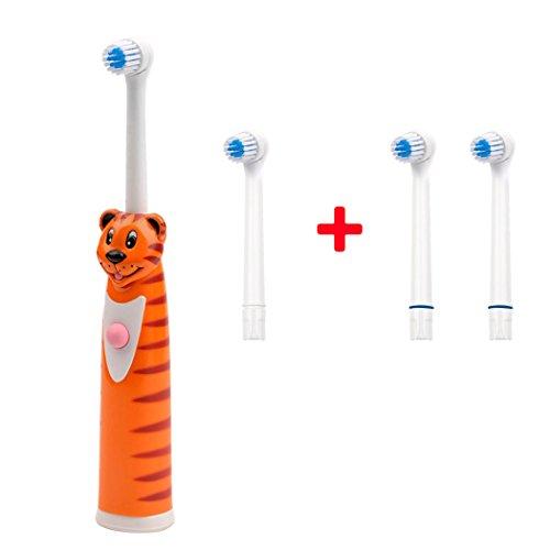 inkint Karikatur Wasserdichte Elektrische Zahnbürste mit 2 Ersatz DuPont Nylon Zahnbürstenkopf Rotierende Massage Ultraschall Zahnbürste für Kinder&Erwachsene Tragbare Zahnpflege Mundhygiene Zahnbürste