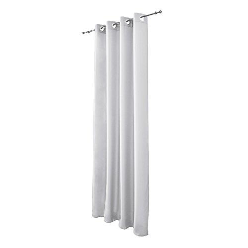 Beautissu Blickdichter Ösen-Vorhang Amelie – 140×245 cm Weiß Uni – Dekorative Gardine Ösenschal Fenster-Schal - 5