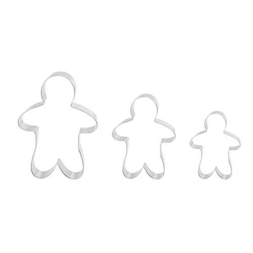 OUNONA Lebkuchenmann Ausstecher Keksausstecher für Keks Plätzchen Tortendekorationen 3 Stücke
