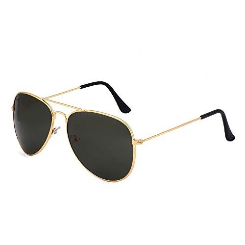 Y&S Aviator Unisex Sunglass(Black 55 Golden-Black-Aviator-Single)