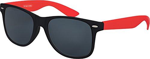 Balinco Hochwertige Nerd Sonnenbrille Rubber im Wayfarer Stil Retro Vintage Unisex Brille mit Federscharnier - 96 verschiedene Farben/Modelle wählbar (Rot/Schwarz - Smoke)