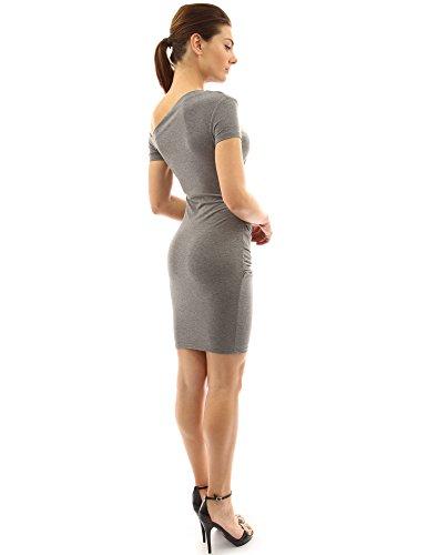 PattyBoutik femmes stretch robe mi-longue plissée avec une épaule nu gris chiné