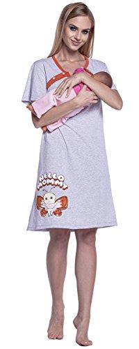 Happy Mama. Femme Maternité Chemise de Nuit Nuisette Grossesse Allaitement. 872p Corail