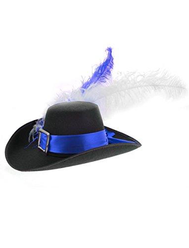 Deiters Musketier Hut mit blau/weißer Feder schwarz