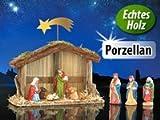 Weihnachts-Krippe (10-teilig) mit handbemalten Porzellan-Figuren