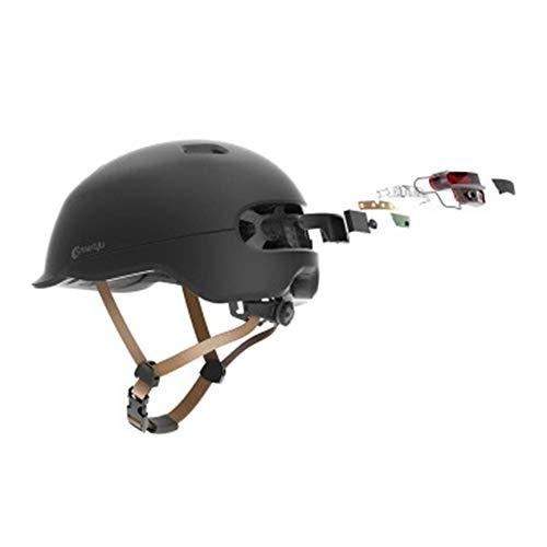 Preisvergleich Produktbild MJW Smart Helm Motorrad-Fahrrad leicht atmungsaktiver Helm mit LED-Warnleuchte L-Code (54-62cm), Black