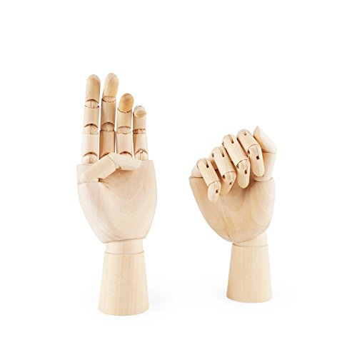 "PDFans Wooden Hand Manikin Jointed Articulated Flexible Fingers Hand Mannequin for Art Drawing, Display (Left+Right Hands 10"")"