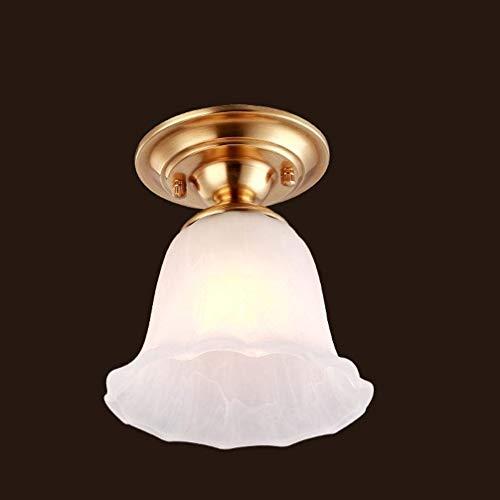 WWFF Industrielle Deckenleuchte in modernem Design 1-flammige Deckenleuchte in Blumenform aus weißem Kupfer Eleganter Lampenschirm aus Glas Klassisches Wohnzimmer Esszimmer Arbeitszimmer Gangflur Deck -