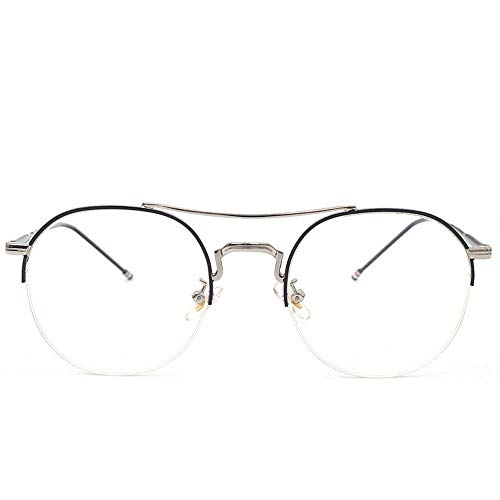 Easy Go Shopping Mädchen/Frauen Metallhalbrahmen Flache Gläser Leichte Brillen ohne Brillen mit klaren Linsen. Sonnenbrillen und Flacher Spiegel (Farbe : Silver Frame Black)