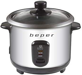 Beper - Olla Arrocera y Vaporera de Acero 2 en 1, Capacidad 1 L para 625 gr de Arroz, Sistema de Mantenimento del Calor, Medidor y Cuchara para el Arroz, Plata y Negro