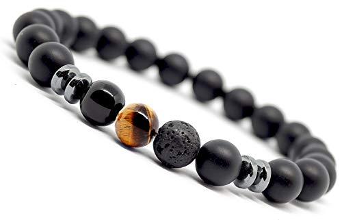 Mister Boncuk`s Chakra Armband aus Achat Natursteinen - Unisex Armbänder für Freizeit Yoga Meditation (Tigerauge)