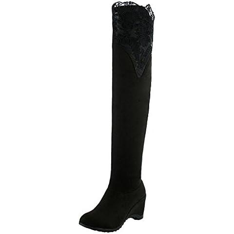 Minetom Mujer Botas De Invierno Encaje Botas Hasta La Rodilla Tacón plataforma Zapatos Calentar Botas De