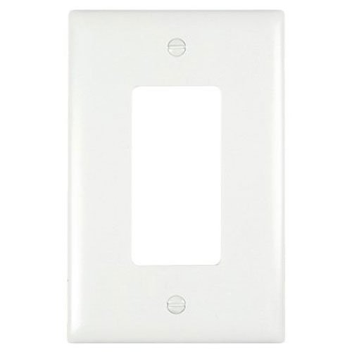 PASS & SEYMOUR Wall Plate, Junior Jumbo, 1-Gang Decorator, White Nylon Wall-plate 1 Gang