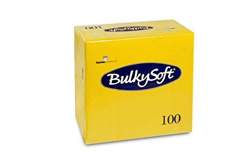 Bulky Soft BS-32026 Servietten 1/4 Falz, 3-lagig, 40 cm x 40 cm, Gelb (100-er Pack)