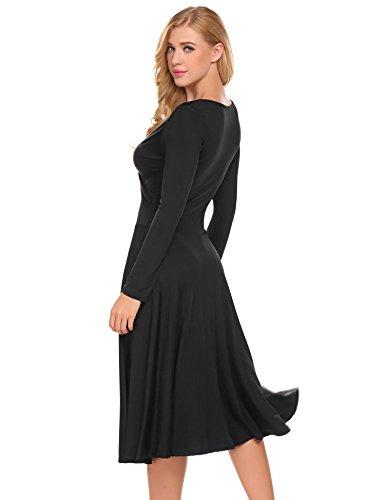 Damen Elegant Shirtkleid Langarm Maxikleid V-Ausschnitt Partykleider Abendkleid Festlich Swing Wickelkleid Wadenlang Schwarz