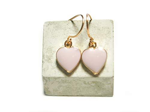 Roségold vergoldete Ohrringe Ohrhänger Herz rosa