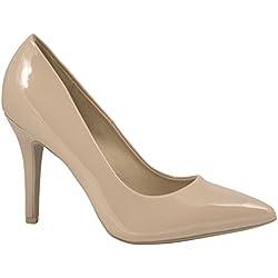 Elara Spitze Damen Pumps | Bequeme Lack Stilettos | Elegante High Heels (38, Beige)