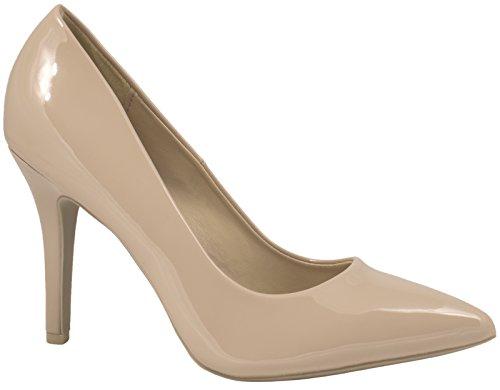 Elara Spitze Damen Pumps | Bequeme Lack Stilettos | Elegante High Heels | chunkyrayan JA70-Beige-39