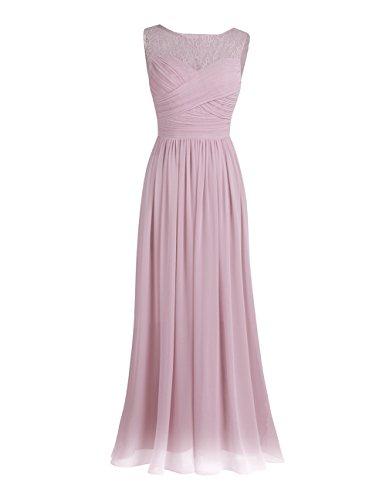 Rosen Langes Kleid (iEFiEL Damen Kleid festliche Kleider elegant Abendkleid Hochzeit Cocktailkleid Chiffon Langes Brautjungfernkleid 34-46 Dusty Rose 40(Herstellergröße: 10))