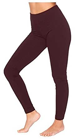 HOT HANGER Womens Full Length Cotton Leggings UK Size 8-28: Color - Brown : Size - 6/8 S