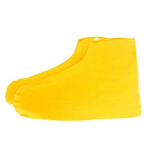 Amazingdeal365 Regenüberschuhe Schneeüberschuhe Wüsteüberschuhe Sandüberschuhe Wasserdicht Schuhe Abdeckung Stiefel Flache Regenkombi Schuhüberzieher Rutschfestem für Damen Mädchen Herren Jungen (Gelb, L)