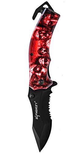 ELFMONKEY Klappmesser extra Scharf Zombie Apokalypse Taschenmesser in Rot Rettungsmesser Messer Einhandmesser Angelmesser Jagdmesser Survival Outdoor