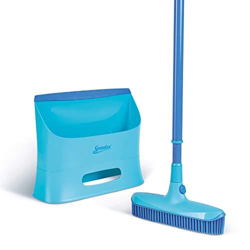 Spontex Catch & Clean, Kehrbesen mit Gummiborsten, Teleskopstiel und praktischem Auffangbehälter, hygienische und effiziente Reinigung für alle Bodenbeläge, 1 Set