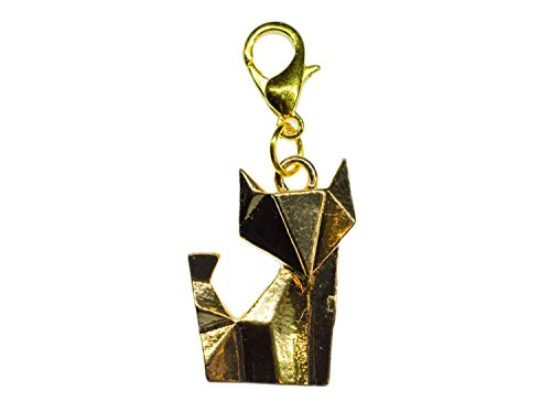 Miniblings Fuchs Charm Zipper Pull Anhänger Senbazuru Tier Katze Origami golden -