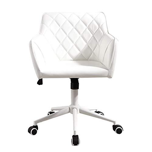 LIUDINGDING-Sessel, Klubsessel Haushalt Computer Stuhl Stoff Drehstuhl Weiß Bürostuhl Ohne Armlehnen Einfache Rückenlehne Liegender Kleinhubstuhl Mit Rädern (Color : White)
