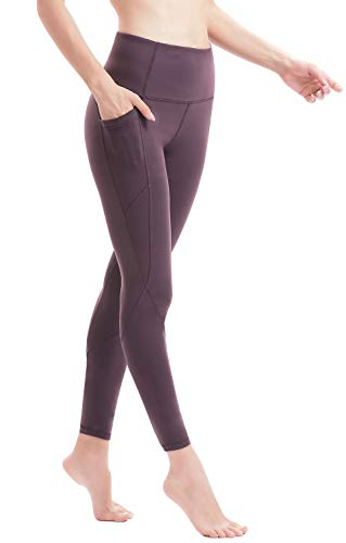 Persit Damen Yoga Leggings, Sport Tights Leggins Yogahose Sporthose für Damen Rotlila-S
