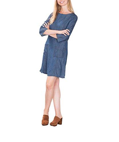 edc by ESPRIT Damen Kleid 086CC1E027, Blau (Blue Dark Wash 901), 38 (Herstellergröße: M)