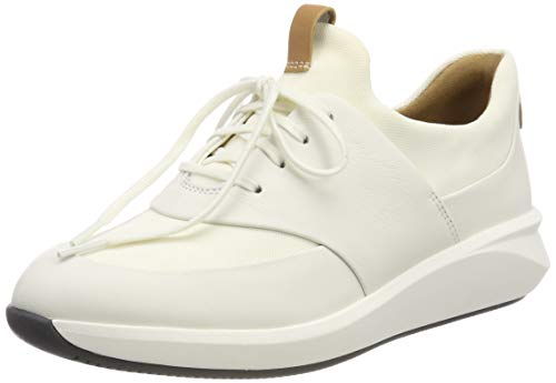 Clarks Un Rio Lace, Zapatos de Cordones Derby para Mujer, Blanco (White Leather-), 39.5 EU