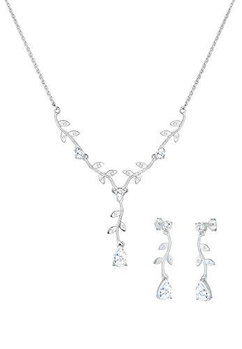 Elli Damen-Set: Halskette + Ohrringe 925 Sterling Silber Schmuckset Länge 45cm