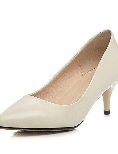 WSS 2016 Chaussures Femme-Bureau & Travail / Décontracté-Noir / Rose / Beige-Talon Cône-Talons / Bout Pointu-Chaussures à Talons-Cuir black-us5 / eu35 / uk3 / cn34