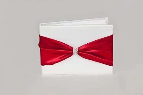 Wedding Guest Book with Satin Ribbon Sash and Crystal Brooch - White, Burgundy & Crystal-Themed - 36