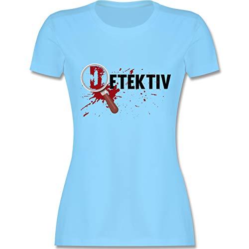 Karneval & Fasching - Detektiv Karneval Kostüm - S - Hellblau - L191 - Damen Tshirt und Frauen T-Shirt