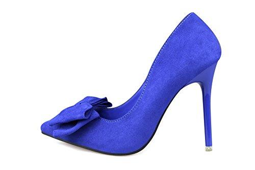 AalarDom Damen Rein Hoher Absatz Spitz Zehe Ziehen Auf Pumps Schuhe mit Schleife Blau-Knoten
