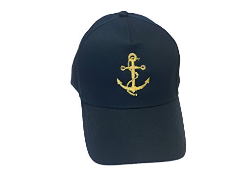 Basecap bestickt mit Motiv Anker in Gold Stickerei Captain Kapitän Boot Mütze Cappy (Navy)