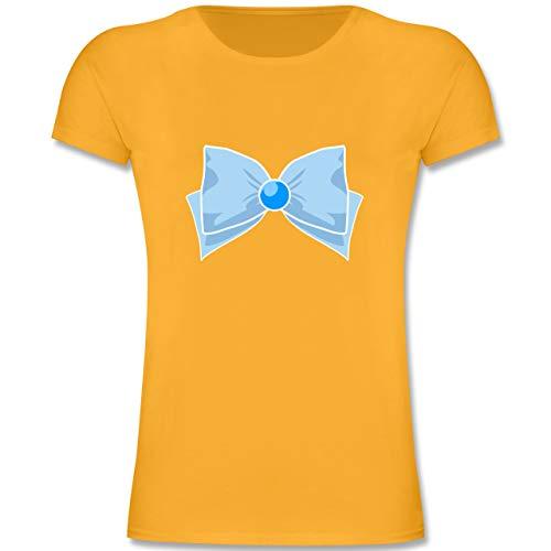 Best Anime Girl Kostüm - Karneval & Fasching Kinder - Superheld Manga Merkur Kostüm - 140 (9-11 Jahre) - Gelb - F131K - Mädchen Kinder T-Shirt