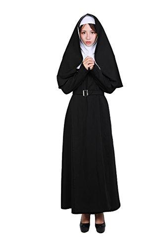(Wellgift Halloween Nonne Kostüm Ausstattungs Cosplay mit dem Gurt Damen Schwarzen vollen Anzug mit Kopfteil Fancy Dress Kleidung)
