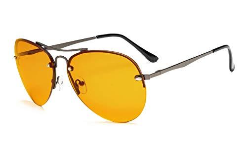 Eyekepper Halbrand-Pilotbrille mit blauem Rand Computerleser-Nighttime Eyewear-Special Orange getönte Gläser(Gunmetal, 0.00)