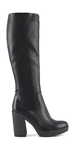 Cafe Noir Boot Femme Cuir Stretch Fermeture eclair Talon Cm 10 PL Cm 2 noir