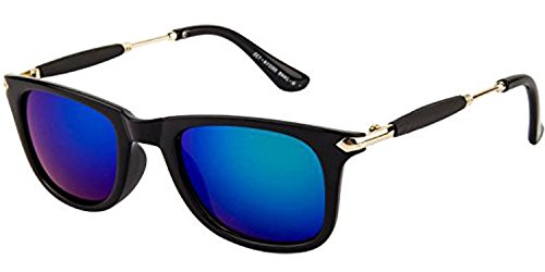Blue Mercury Mirror Reflector Wayfarer Sunglasses for Boys Girls Mens Womens with Stylish Golden Stick (Blue-Stick-Wayfarer-Single-02)