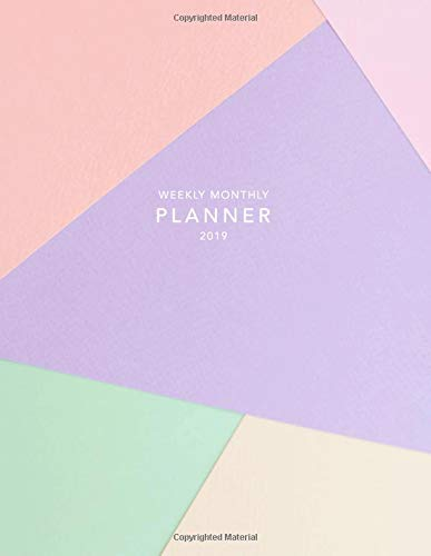 Weekly Monthly Planner 2019: Abstract Pastels | Calendar Organiser and Journal with Inspirational Quotes, Goal Trackers + To Do Lists