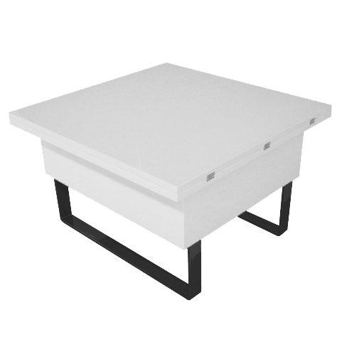 Table basse relevable à plateau dépliable New Viper - Blanc
