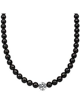 Elli Damen-Halskette Ornament Edelsteinkette 925 Silber Onyx schwarz - 0103240215