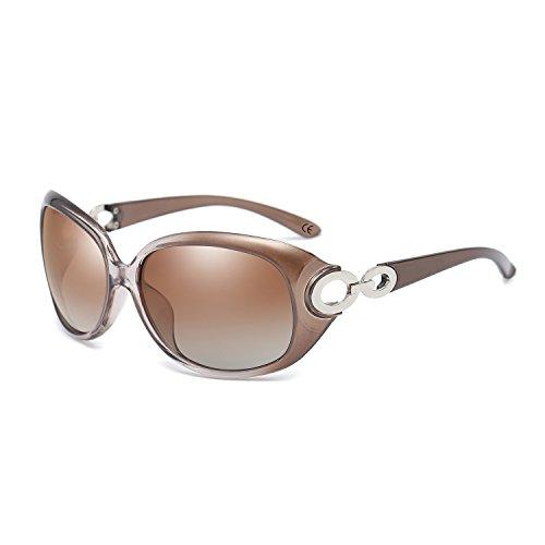 BVAGSS Mode Großer Rahmen Damen Polarisiert Sonnenbrille 100% UV-Schutz (Champagne Frame With Champagne Lens) jSmep